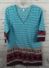 Old Navy Tunic Top Small Border Print 3/4 Sleeve Cotton Birds