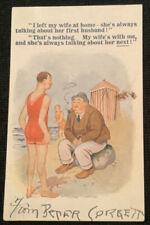 Vintage Comic Postcard Bathing Beauty Man On Rock Vacation Bamforth