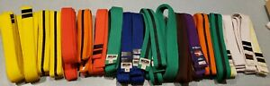 Lot of 20 martial arts belts.Some new ,New and pre-owned, many colors, stripes