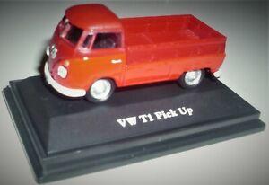 Cararama, VW T1 Pick Up rot, Maßstab 1:72, OVP und Neu in Vitrine.