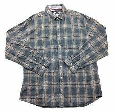 Tommy Hilfiger Custom Fit Blue Rhythm Plaid Button Front L/S Shirt in 2XL
