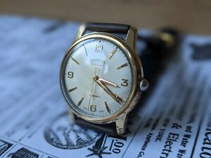 Gents Vintage Roamer Popular Gold Plated 17 Jewel Champagne Watch - Working