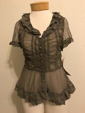 Lapis Olive Sheer Lace Short-Sleeve Buttoned Down Top Sz XL - s/b Med  NWT