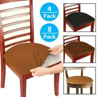 4/8 Pcs Stretch Removable Washable Dining Room Chair Seat Cover Slipcover