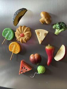 Vintage Collection of Realistic Fruit Vegetables Candy Food Fridge Magnets