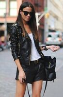Topshop Black and Gold Studded Leather Biker Jacket UK 12 EURO 40 US 8 RRP £250