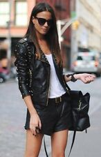 Topshop Black and Gold Studded Leather Biker Jacket UK 12 EURO 40 US 8 RRP £250