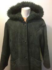 Vtg 70s 80s Ladies Green Leather Shearling Coat Womens 42 Lambskin Long Hooded