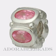Authentic Chamilia Silver Light Rose Oval Stone Bead JC-1F *RETIRED* SALE!!!