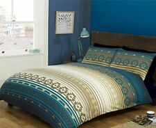 Blue Teal Beige Cream Aztec Striped Double Duvet Cover 200cm X 200cm