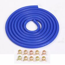 """3 Meter 10 Feet Vacuum Silicone Hose 4mm 5/32"""" Blue With Spring Band Clamp X10"""