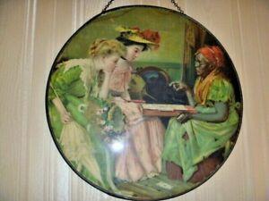 "Antique Chimney Flue Cover Women Fortune Teller Cards  9 1/2"" Germany Rare!"
