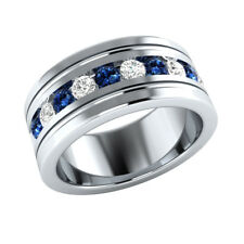 1.00 Ct Round Blue and White Sapphire Mens Wedding Band Ring 14k White Gold GP