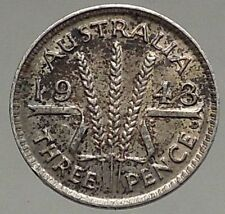 1943 AUSTRALIA - Threepence SILVER Coin - UK King George VI Wheat Stalks i56804