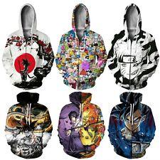 Womens Mens 3D Anime Print Pullover Sweatshirt Hoodies Jumper Jacket Coat Top