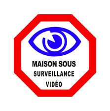Autocollant Adhésif Stickers Picto Maison sous surveillance vidéo Domicile Oeil