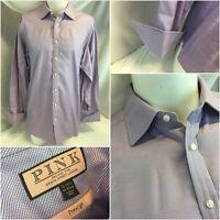 "Thomas Pink French Cuff Shirt 16 34 Purple Check ""Prestige"" Worn Once YGI G8-511"