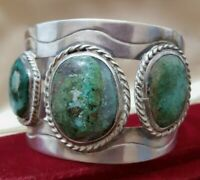 Rancho Alegre Vintage Sterling Silver Bracelet 1960's,Green Turquoise Bangle,70g