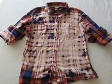 Distressed Flannel Handmade Shirt Bleached Ombre Country Grunge Rockabilly
