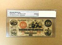 1864 State of Florida, Tallahassee $10 TEN Dollar Bill Osolete Banknote