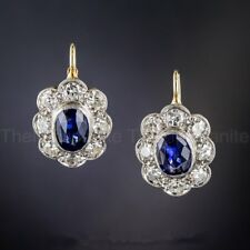 VINTAGE ART DECO 2 CT DIAMOND SAPPHIRE 14K WHITE GOLD OVER ANTIQUE EARRINGS