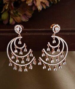 CHANDELIER ENGAGEMENT WEDDING MODERN EARRING'S 14K ROSE GOLD PLATED 2 CT DIAMOND