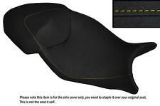 GRIP VINYL DESIGN 2 YELLOW STITCH CUSTOM FITS BMW S1000 XR 15-16 DUAL SEAT COVER