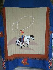 Western Cowboy Theme Hand Made Comforter and Pillow Sham Fringe Horse Boy
