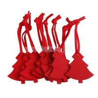 10Pcs Xmas Tree Shape Felt Christmas Trees Ornament Decorative Hanger Red