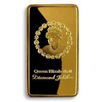 Queen Elizabeth II, Gold Plated bar, ER, 1952- 2012, Diamond Jubilee