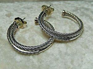 David Yurman Diamond 14 k Silver & Gold Earring Double Band Hoop Pierced 925