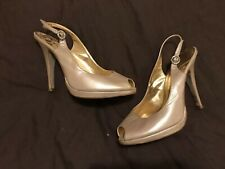 Ladies Ted Baker Gold/pearl Peep Toe Slingback Sandals Size 7