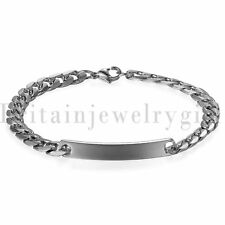 Free Engraving Stainless Steel Link Matching Couple ID Bracelet for Men Women