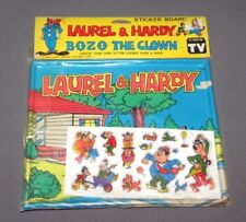 Vintage 1983 Laurel & Hardy Sticker Board Bozo the Clown Larry Harmon Pictures