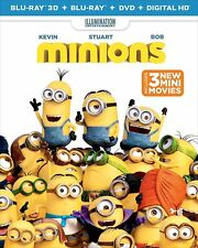 Minions (Blu-ray 3D + Blu-ray + DVD + DIGITAL HD) (2015) NEW