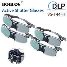 4Pcs 3D DLP-Link 96-144Hz Active Shutter Glasses Rechargeable For BenQ Optoma