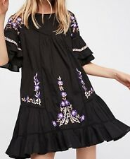 ☮  FREE PEOPLE  Floral Embroidered Pavlo Dress ☮ Size Medium