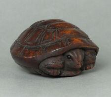 "1940's Japanese handmade Boxwood Netsuke ""Tortoise"" Figurine Carving A+"