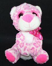 Pink Plush Leopard Big Glitter Eyes Pink Love Bow Stuffed Animal Soft Kelly Toy