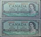 BANK OF CANADA - 1954 $1 - 2 CONSECUTIVE NOTES - Prefix H/F -Beattie & Rasminsky