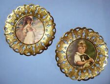 """2 VINTAGE BUTTERFLY BRASS 6"""" ROUND PLAQUES WITH NICE PICTURES ITALY"""