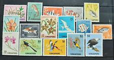 SINGAPORE 1962 BIRDS ORCHIDS FISH SG 63 - 77 MNH OG FRESH ( MALAYSIA )