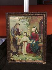 Quadro stampa Sacra Famiglia anni 30 con cornice Arte Sacra
