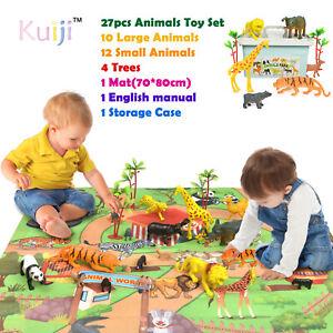 27pcs Animal Toy Figures Playset with Hard Case&Trees Lion Tiger Giraffe Zoo Set