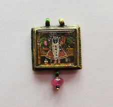 Vintage antique 20K Gold 'shreenath ji' enamel Pendant necklace amulet Jewelry