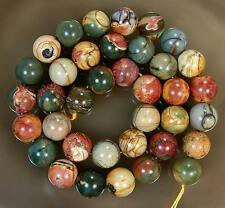 """NATURAL 12MM MULTICOLOR PICASSO JASPER GEMSTONE ROUND BALL LOOSE BEADS15""""##QF426"""