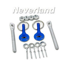 Universal Car Truck SUV Racing Alloy Mount Bonnet Hood Pins Lock Latch Kit Blue