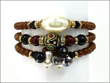 Wrap Stretch Bracelet with Pearl, Brown, and Black Beads