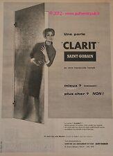 Publicite SAINT GOBAIN MIROITIER PORTE CLARIT 1959 PUB
