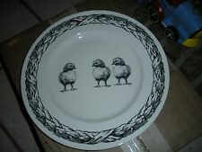 "NEW CARLY DODSLEY ROYAL STAFFORD BLACK CREAM BABY CHICKS CHICKEN 11"" PLATE (S)"